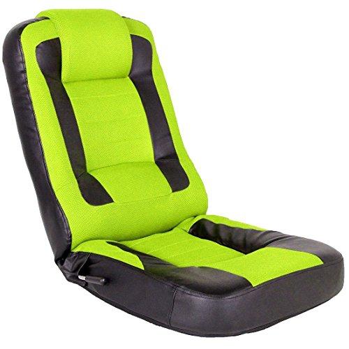 タンスのゲン レーシング 座椅子 メッシュ レバー式 14段階 リクライニング パーソナルチェア ゲーミングチェア グリーン 15110004 GN