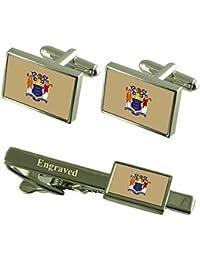 新しいJersey Flag Cufflinks EngravedタイクリップMatchingボックスセット