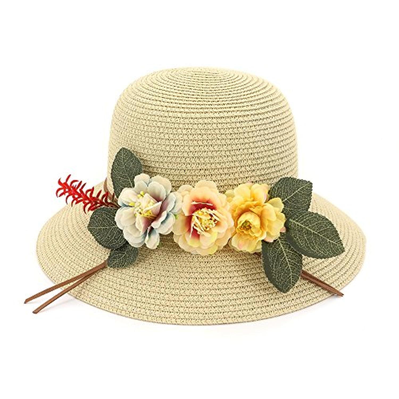 Ruiyue 夏のストロー帽子、夏の花ストロー帽子フラワーエレガントなビーチSunhat広い詰め物フロッピーバケツ女性用 (色 : Beige)