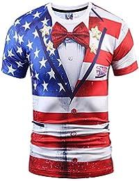 Dovewill 男女兼用 3D アメリカ国旗柄 半袖 Tシャツ 全6サイズ
