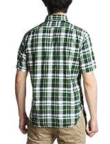 Madras Short Sleeve Buttondown Shirt 111-52-0034: Green