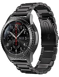 iBazal Gear S3 バンド galaxy watch 46mm Galaxy Huawei Watch GT兼用 moto360 22mm 時計バンド精密制作 ステンレスバンド 調整工具付き ウォッチバンドメタル 男女共用 マット質感(ステンレス-ブラック)