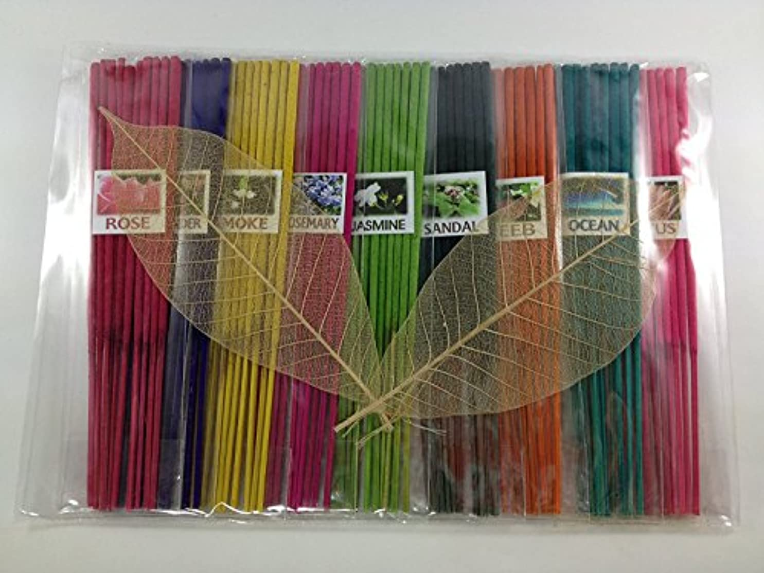 評価可能ドック器具Thai Incense Sticks with 9 Aroma Smell - Moke Rosemary Jasmine Sandal Lotus Ocean Rose Lavender Peeb.