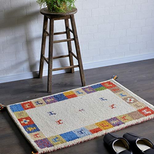 ギャッベ ギャベ 玄関マット ウール 7313 約 70x120cm 手織り インド 室内