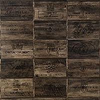 生のり付き 国産 壁紙 クロス サンゲツ × 壁紙屋本舗 オリジナル Harelu(ハレル)ヴィンテージ ワインボックス Vintage Brown(ヴィンテージブラウン) ZC3936 茶色 ブラウン 1m単位切り売り