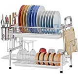 Dish Drying Rack, Premium 304 Grade Stainless Steel Utensil Holder Cutting Board Holder, Rustproof Dish Drainer with Removabl