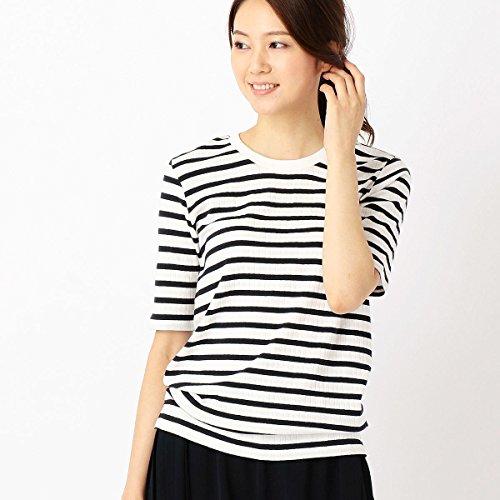 (コムサ イズム) COMME CA ISM 針抜きワイドリブボーダーTシャツ 12-60CC01-107 L ホワイト