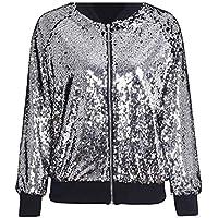 3d3f5b2857a Rimi Hanger Womens Glitter Sequin Bomber Jacket Coat Top Biker Festival  Clubbing Party Club Small