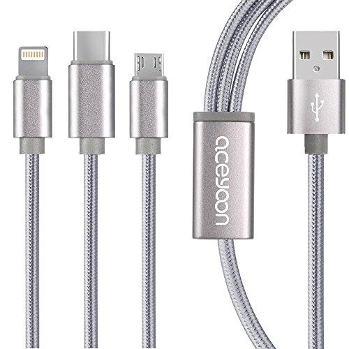 aceyoon マルチ充電ケーブル 急速充電 1.2m iPhone / Android / USB Type C 3 in 1 USB コード 2.4A 1本3役 ライトニング / MicroUSB / USB-C 充電ケーブル 高耐久 ナイロン Lightning / Type C Cable 120cm iPhone 8 / 7 / 6 / 5 / Galaxy / アンドロイド など対応