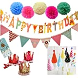 【sweet girl】 みんなで楽しく Happy Birthday 誕生日 飾り 盛りだくさんセット クラウン 帽子 ガーランド ペーパーフラワー パーティー (女の子)
