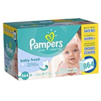 Pampers Baby Fresh Water Baby Wipes 12X Pop-Top Packs, 864 Count