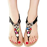 Start Women's Summer Bohemia Ful Bead Butterfly Sandals Shoe