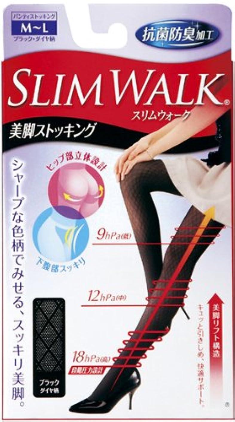 トチの実の木エスカレーター留まるスリムウォーク 美脚ストッキング M-Lサイズ ブラックダイヤ柄(SLIM WALK,pantyhose, ML)