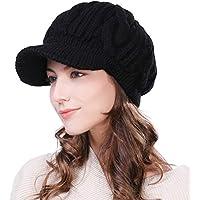 SIGGI 100% Merino Wool Newsboy Cap Winter Hat Visor Beret Cold Weather Knitted
