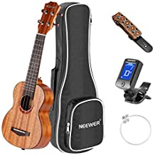 Neewer 23 inches Soprano Mahogany Body Rosewood Fingerboard Ukulele Kit, Bundle with Gig Bag, Clip-on Tuner, Carbon String, Shoulder Strap, Ideal for Music Lover, Convenient to Carry