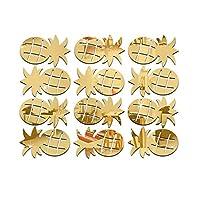 コサージュ12個3Dシルバー/ゴールドパイナップルミラー壁ステッカーDIYホームデコレーションホームデカールリビングルーム壁画(ゴールデン)