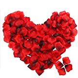 POAO 2500 PCS Durabel Artificial Flowers Romantic Silk Rose Petals Lightweight Table Confetti Flowers Wedding Party Decorations (Red)