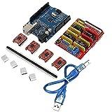 geekcreit CNCシールドUno r3ボード4x a4988ドライバーキットwithヒートシンクfor Arduino Engraver 3dプリンタp-711コントロールmah8700aww wed9200sq1atmega328p-puプログラマAtmel