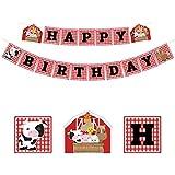 誕生日バナー 可愛い乳牛 動物 happy birthday 子供 大人 誕生日飾り 出産 100日お祝い 誕生日パーティー飾り付け カスタマイズ