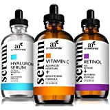 ArtNaturals Anti-Aging-Set with Vitamin-C Retinol and Hyaluronic-Acid - (3 x 1 Fl Oz / 30ml) Serum for Anti Wrinkle and Dark