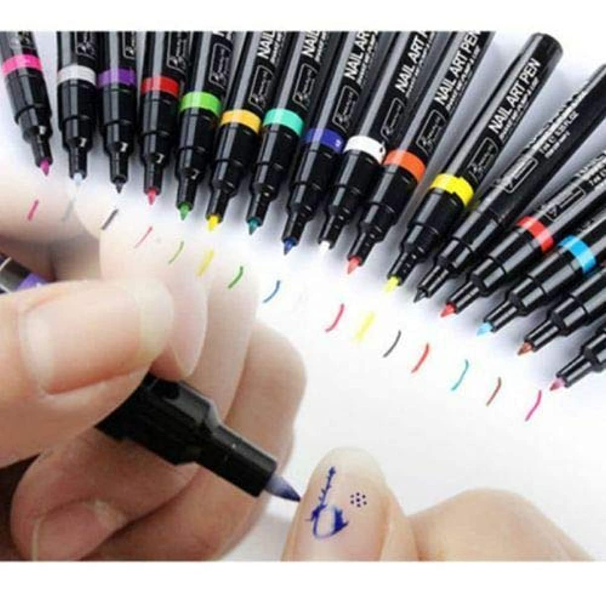 偽装する手術アラスカFidgetGear 16色ネイルアートペン絵画デザインツールデッサン用uvジェルポリッシュマニキュア