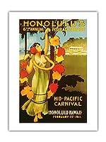 1911ミッドパシフィック・カーニバル - ホノルルハワイ - 第6回フローラル・パレード - ビンテージなカーニバルのポスター c.1911 - アートポスター - 46cm x 61cm