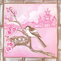 Oopsy Daisy Shanghai Sparrow Cherry Blossoms Stretched Canvas Wall Art by Colleen Phelon Hall, 14 by 14-Inch [並行輸入品]
