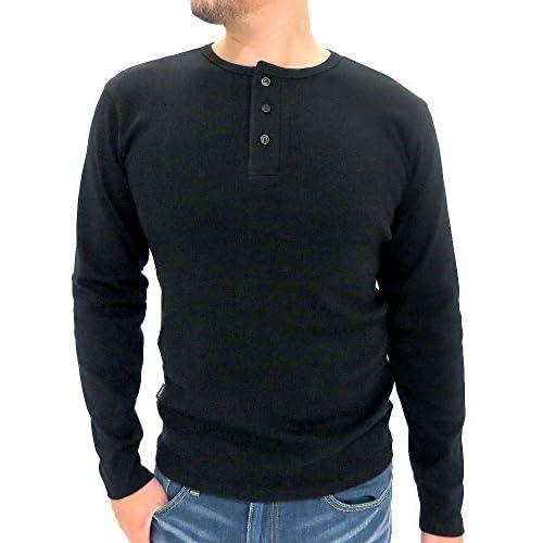 (アヴィレックス) AVIREX Tシャツ メンズ 長袖 ヘンリーネック 無地 リブ 秋 4color L ブラック