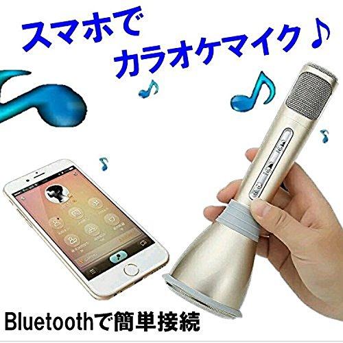 スマホでカラオケ ポータブル カラオケ マイク スピーカー Bluetooth 簡単 1人カラオケ パーティー エコー (ピンク) PR-KARAMIC-PK