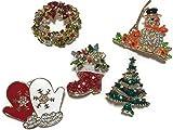 Almmy.6 クリスマスブローチ 5個セット+収納袋+クリスマスツリーステッカー サンタクロース 雪だるま 手袋 リース クリスマスツリー ブーツ