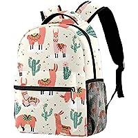 Backpack Llama and Cactus Pattern School Bag Bookbag Hiking Travel Rucksack