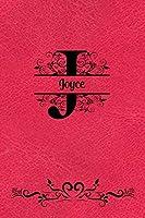 Split Letter Personalized Name Journal - Joyce: Elegant Flourish Capital Letter on Red Leather Look Background