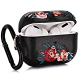 Airpods Pro Case, V-MORO Embroidered Leather Airpod 3 Case Cover for Airpods Pro [Front LED Visible] Protective Cover Skin Girls Women, Support Wireless Charging (Rose Flower)