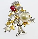 南洋白蝶パール10.0mm珠 ルビー クリスマスツリー エナメルブローチ