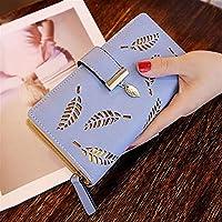 葉中空女性財布ソフトPUレザー女性のクラッチ財布女性デザイナー財布コインカード財布 (Color : A Blue)