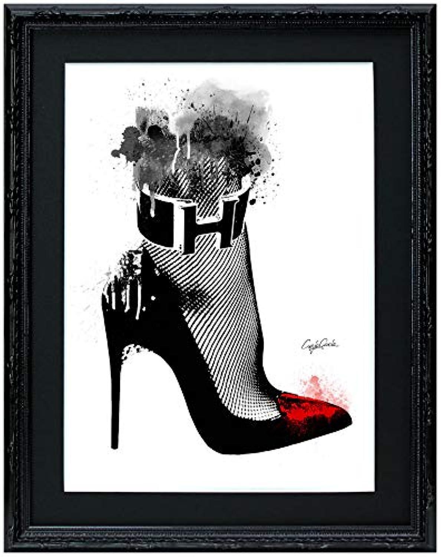 アートショップ フォームス ブランドオマージュアート/クレイグ?ガルシア「エルメス/ルブタン/ハイヒール」A4ポスター (ブラック)