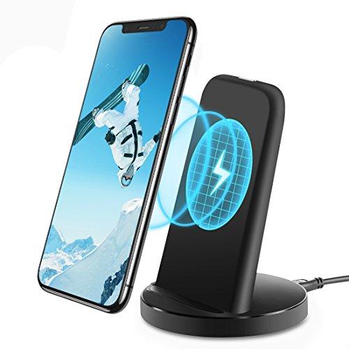 Qi ワイヤレス充電器【Humixx】 [ 急速充電 二つのコイル ] [ USBケーブル付き ] [ 日本語説明書付き ] iPhone8 , iPhone 8 Plus , iPhone X /Samsung Galaxy S9 ,S9 Plus,Note 8, S8, S8 Plus, S7, S7 Edge, Note 5, S6 Edge Plus/Nexus/Kyocera/他Qi対応機種 スタンド型(ワイヤレスチャージャー , ブラック)