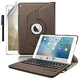 [Boriyuan] iPad mini4専用 Bluetoothキーボードカバー/キーボードケース iPad mini4保護ケース?360度回転式 ワイヤレスキーボード 良質PUレザーケース Bluetooth3.0搭載 キーボード分離可能 スタンド機能 保護フィルムとタッチペン付き (360ブラウン)