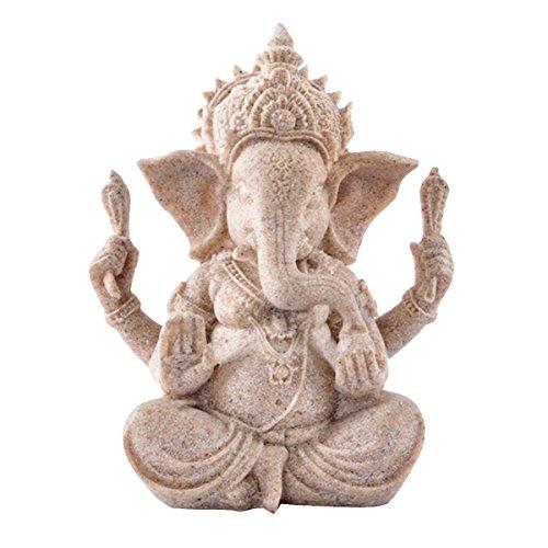 Montenas 砂岩 ガネーシャ 仏象 彫刻 置物 幸運を呼ぶ インドの神様