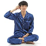 N-hilfe メンズ パジャマ 大人用 長袖 ナイトウェア (L (身長目安160~170cm), ブルー)