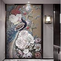 Wuyyii カスタム壁紙3D壁画新しい中国風の花が豊富な孔雀のポーチの背景の壁紙壁画-350X250Cm