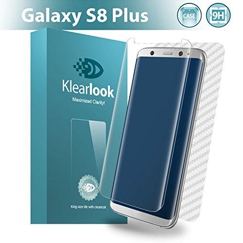 Klearlook Samsung Galaxy S8 Plus用強化ガラスフィルム 「ケースに干渉せず」 タッチ感度良好 透過率99% 貼り易い(ガラス液晶面1枚+カーボン繊維背面1枚 ) (S8 Plus, クリア)
