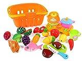 DEZAR おままごと 調理セット バスケット入り 切れる野菜 果物 食べ物セット