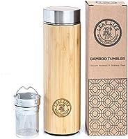 LeafLife Original Bamboo Tumbler with Tea Infuser & Strainer Tea Bottle Vacuum Insulated Travel Tea Mug Co