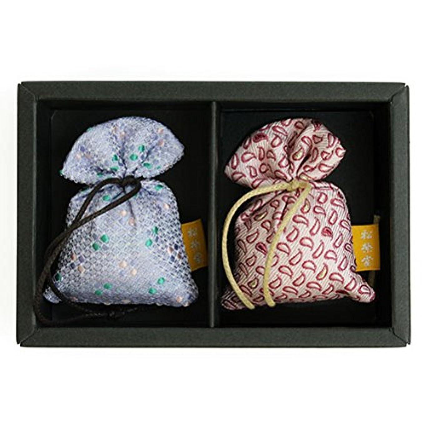 評価自体マインドフル匂い袋 誰が袖 薫 かおる 2個入 松栄堂 Shoyeido 本体長さ60mm (色?柄は選べません)