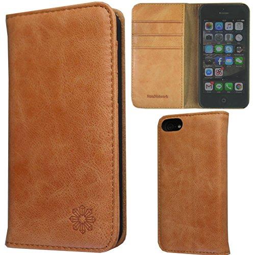 3cd407245c NeedNetwork iPhone SE iPhone5/5S アイフォン ケース カバー 手帳型 本革 レザー 財布型 カードポケット  スタンド機能 マグネット式 (iPhone SE, キャメル)