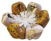 りん布団 国産 おりん用の 花型 リン座布団 (4号 直径14cm, 葵小花 金茶)