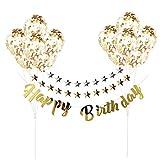 CCINEE  キラキラ  金色 誕生日飾り付け 装飾 飾り 風船 HAPPY BIRTHDAY 金銀色 ガーランド