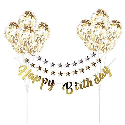 誕生日飾り付け 装飾 飾り 風船 キラキラ  金色 HAPPY BIRTHDAY 金銀色 ガーランド