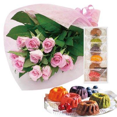 誕生日 お祝い の 花 お 花 と スイーツ おしゃれ ギフト セット エレガント ピンク バラ 花束 と はちみつとクリームチーズのフルーツケーキ6個 メッセージカード 還暦祝い 結婚祝い 古希 喜寿 人気 プレゼント ランキング ギフト 女性 母 親